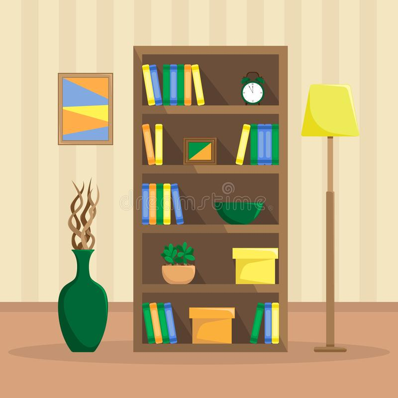 Illustrazione piana di uno scaffale accogliente con i libri, orologio, piante royalty illustrazione gratis