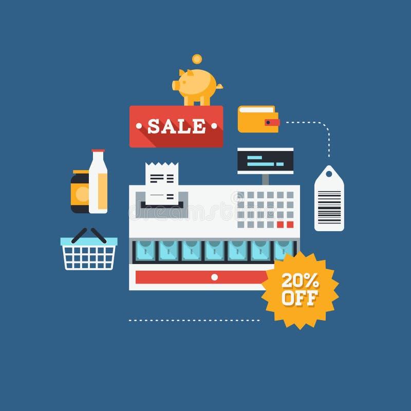Illustrazione piana di vendita al dettaglio e di commercio illustrazione vettoriale