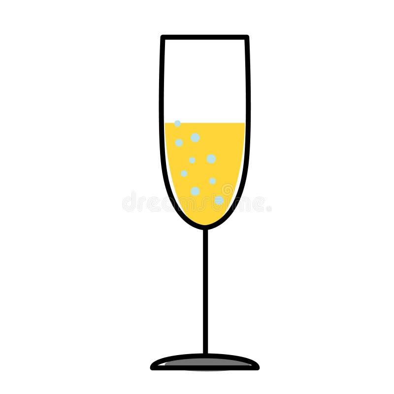 Illustrazione piana di vetro di Champagne su bianco illustrazione di stock