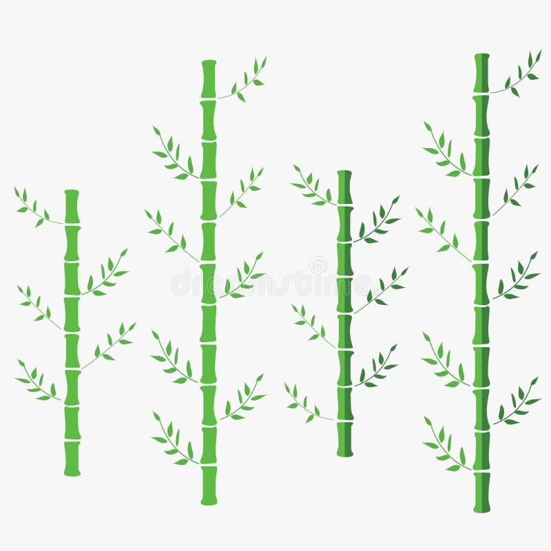 Illustrazione piana di vettore di bambù bambù cinese orientale verde Bambù su fondo isolato bianco illustrazione vettoriale