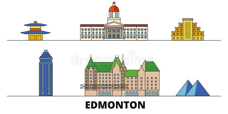 Illustrazione piana di vettore dei punti di riferimento del Canada, Edmonton Linea città con le viste famose di viaggio, orizzont illustrazione vettoriale
