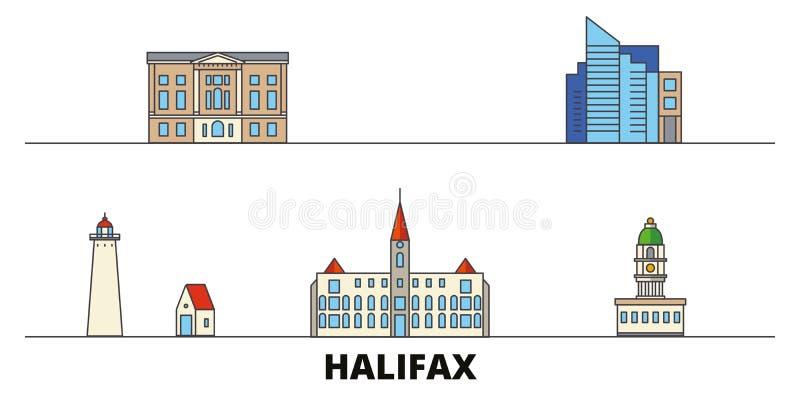 Illustrazione piana di vettore dei punti di riferimento del Canada, Halifax Linea città con le viste famose di viaggio, orizzonte illustrazione di stock