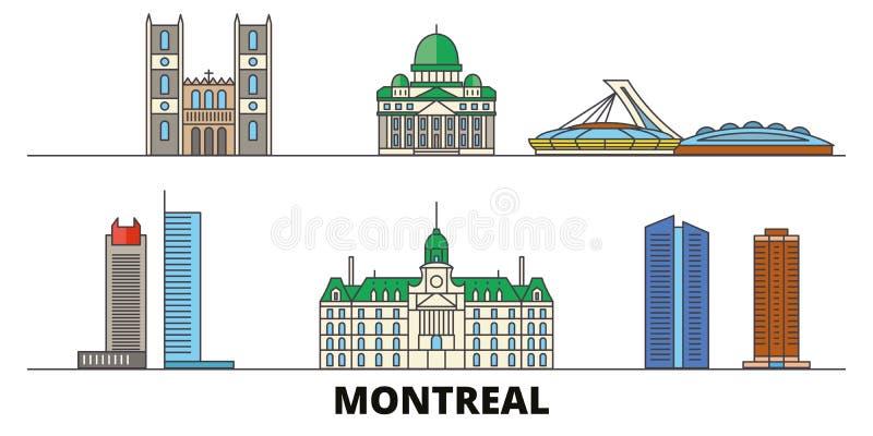 Illustrazione piana di vettore dei punti di riferimento del Canada, Montreal Linea città con le viste famose di viaggio, orizzont illustrazione di stock