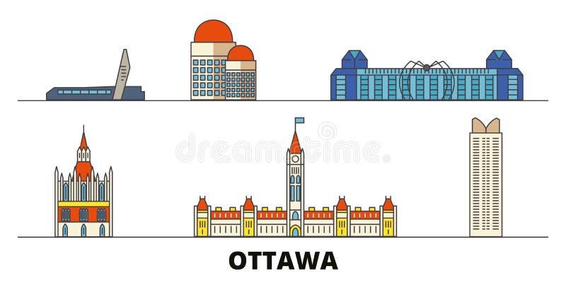 Illustrazione piana di vettore dei punti di riferimento del Canada, Ottawa Linea città con le viste famose di viaggio, orizzonte, royalty illustrazione gratis