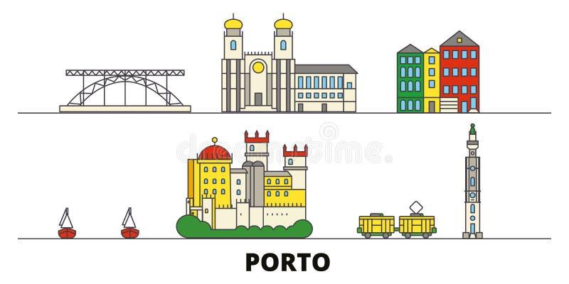 Illustrazione piana di vettore dei punti di riferimento del Portogallo, Oporto Linea città con le viste famose di viaggio, orizzo royalty illustrazione gratis