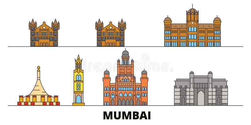Illustrazione piana di vettore dei punti di riferimento dell'India, Mumbai 2 Linea città con le viste famose di viaggio, orizzont illustrazione vettoriale
