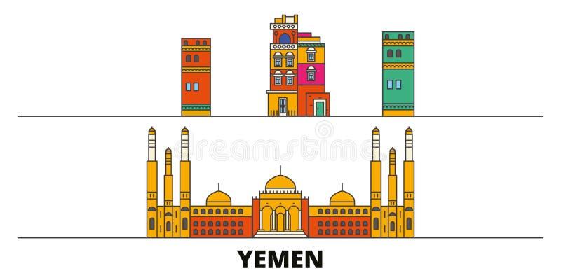 Illustrazione piana di vettore dei punti di riferimento dell'Yemen, Sanaa Linea città con le viste famose di viaggio, orizzonte,  illustrazione vettoriale