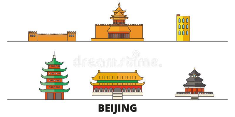 Illustrazione piana di vettore dei punti di riferimento della Cina, Pechino Linea città con le viste famose di viaggio, orizzonte royalty illustrazione gratis