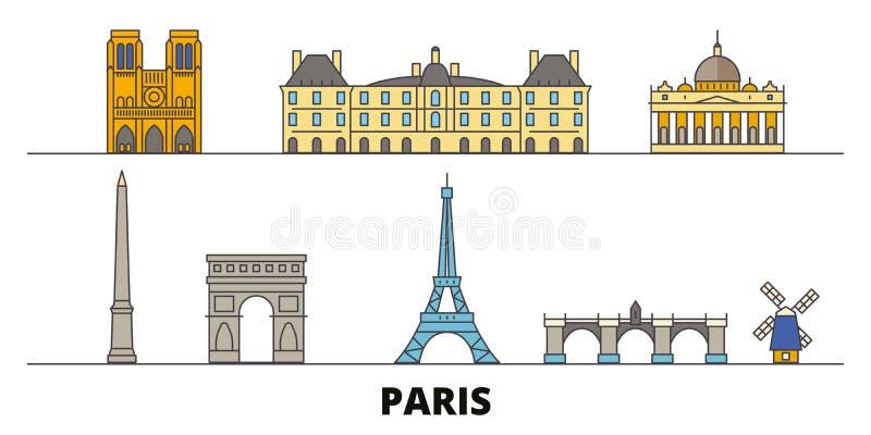 Illustrazione piana di vettore dei punti di riferimento della Francia, Parigi Linea città con le viste famose di viaggio, orizzon royalty illustrazione gratis
