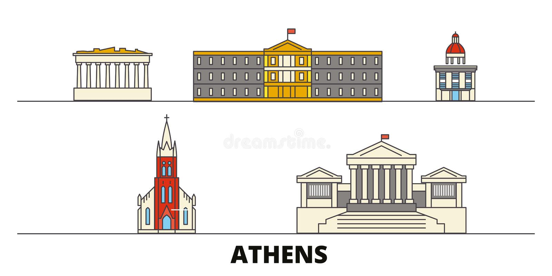 Illustrazione piana di vettore dei punti di riferimento della Grecia, Atene Linea città con le viste famose di viaggio, orizzonte illustrazione vettoriale