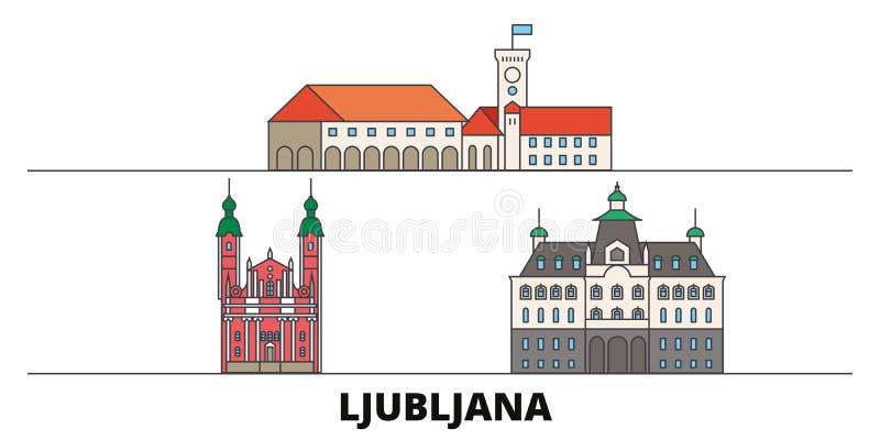 Illustrazione piana di vettore dei punti di riferimento della Slovenia, Transferrina Linea città con le viste famose di viaggio,  illustrazione vettoriale