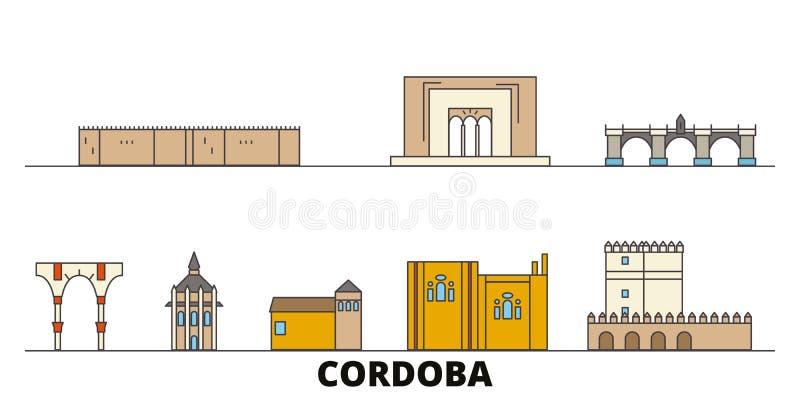 Illustrazione piana di vettore dei punti di riferimento della Spagna, Cordova Linea città con le viste famose di viaggio, orizzon royalty illustrazione gratis