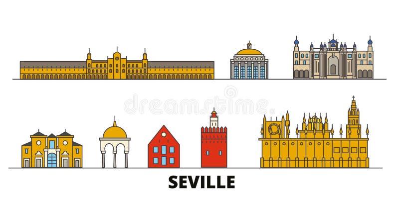 Illustrazione piana di vettore dei punti di riferimento della Spagna, Siviglia Linea città con le viste famose di viaggio, orizzo illustrazione di stock