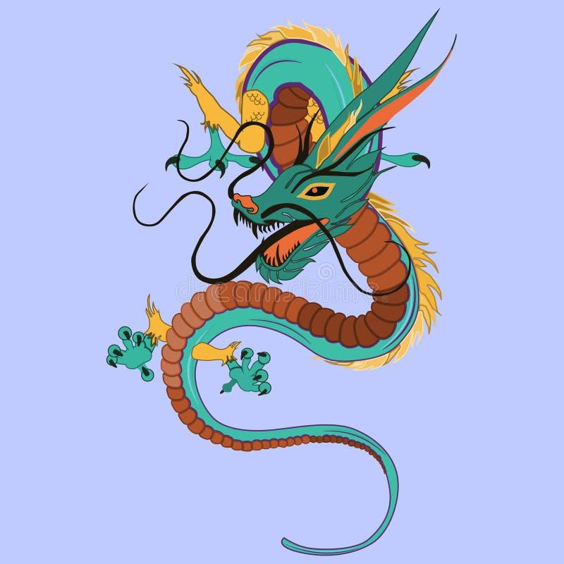 Illustrazione piana di vettore del drago cinese illustrazione di stock