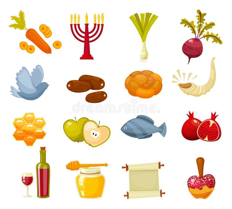 Illustrazione piana di vettore del fumetto delle icone per la festa ebrea Rosh Hashanah del nuovo anno illustrazione vettoriale