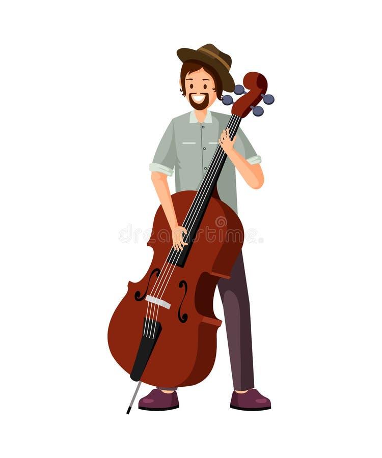 Illustrazione piana di vettore del giocatore maschio del violoncello royalty illustrazione gratis