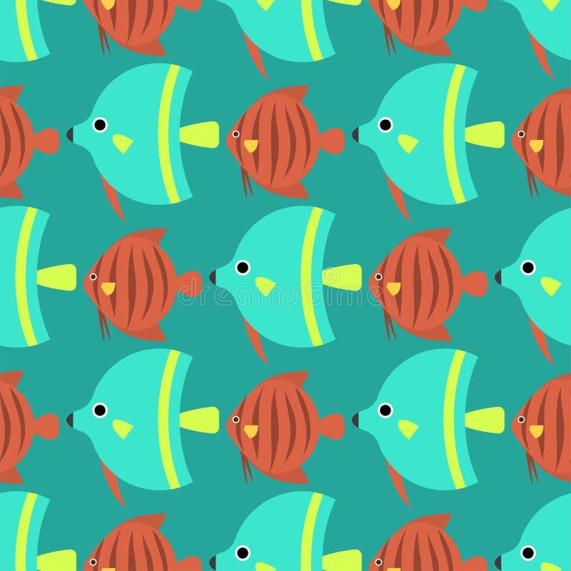 Illustrazione piana di vettore del pesce della corsa del modello dell'oceano di specie della natura acquatica subacquea senza cuc royalty illustrazione gratis