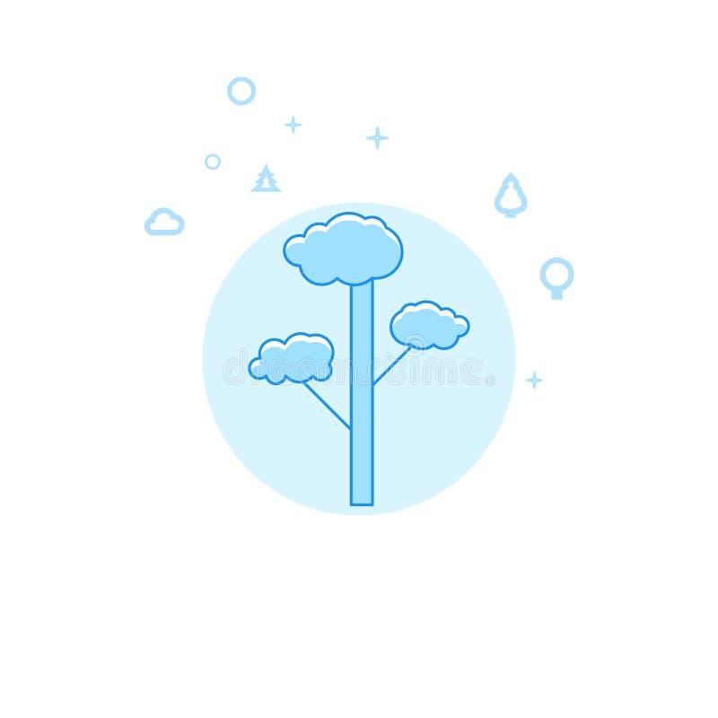 Illustrazione piana di vettore del pino, icona Progettazione monocromatica blu-chiaro Colpo editabile royalty illustrazione gratis