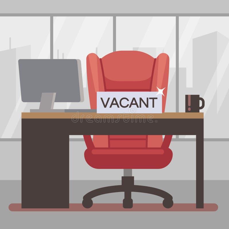 Illustrazione piana di vettore del posto di lavoro libero Ufficio del capo con la grande sedia del lavoro royalty illustrazione gratis