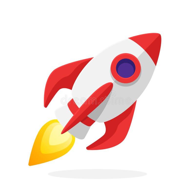 Illustrazione piana di vettore dell'astronave del razzo con la fiamma royalty illustrazione gratis