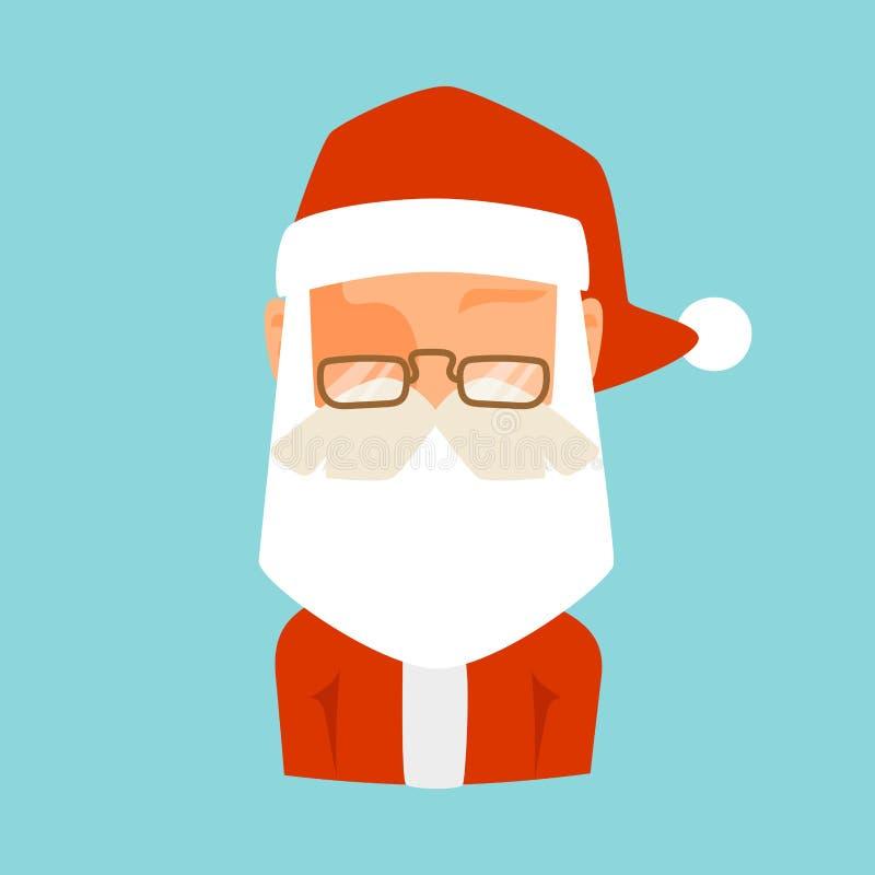 Illustrazione piana di vettore dell'avatar dell'icona di Santa Claus royalty illustrazione gratis