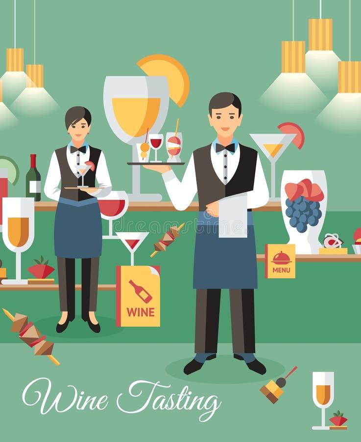Illustrazione piana di vettore dell'insegna di evento dell'assaggio di vino royalty illustrazione gratis