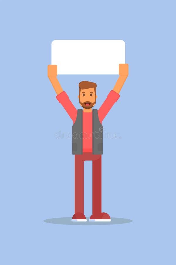 Illustrazione piana di vettore dell'insegna di promo della tenuta dell'uomo illustrazione di stock