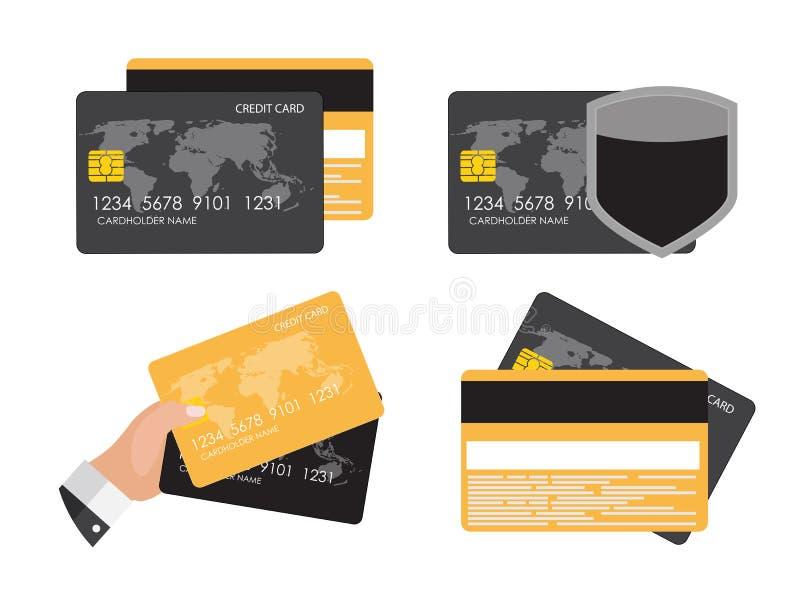 Illustrazione piana di vettore dell'insieme della raccolta di concetto dell'icona della carta di credito royalty illustrazione gratis