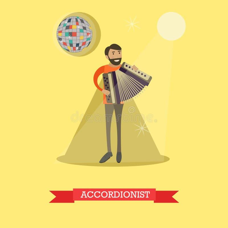 Illustrazione piana di vettore dell'uomo che gioca fisarmonica royalty illustrazione gratis