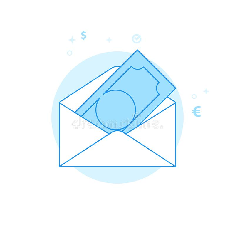Illustrazione piana di vettore della busta dei soldi, icona Progettazione monocromatica blu-chiaro Colpo editabile fotografia stock