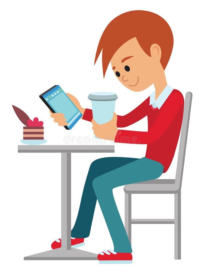 Illustrazione piana di vettore della caffetteria Caffè della bevanda del giovane alla tavola illustrazione di stock