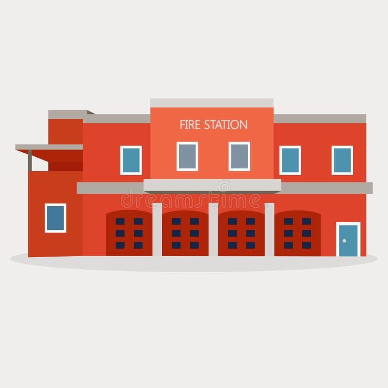 Illustrazione piana di vettore della caserma dei pompieri fotografia stock libera da diritti