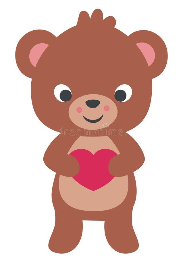 Illustrazione piana di vettore della piccola di Teddy Bear Holding Heart Valentines carta sveglia di giorno isolata su bianco royalty illustrazione gratis