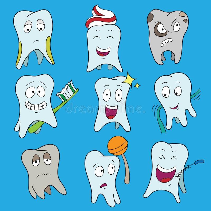 Illustrazione piana di vettore della raccolta dei denti Insieme del dente sveglio che mostra le varie emozioni, simboli bianchi b illustrazione di stock