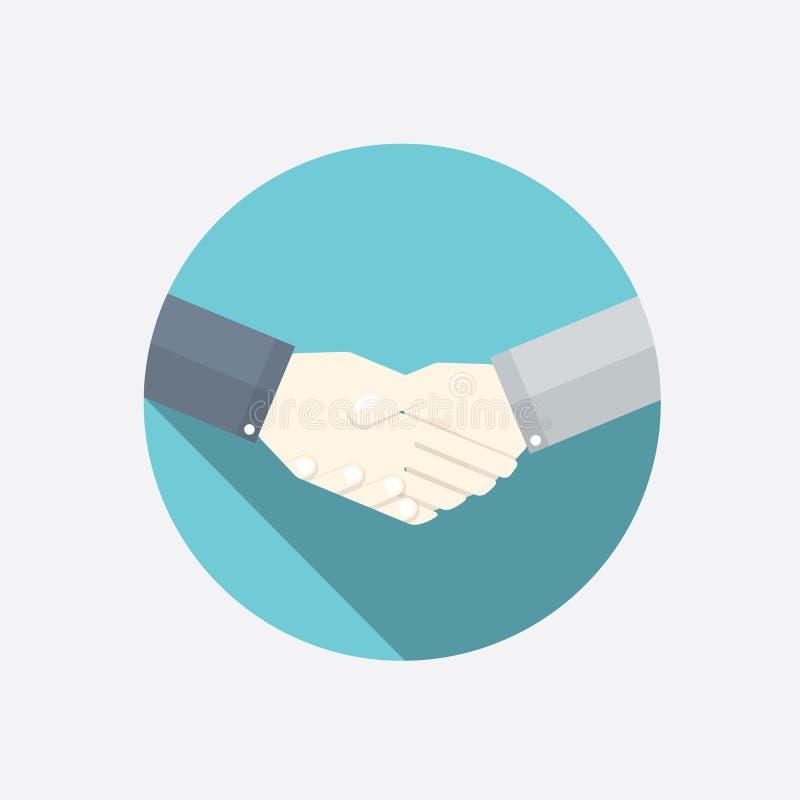 Illustrazione piana di vettore della stretta di mano Concetto moderno di affari illustrazione vettoriale