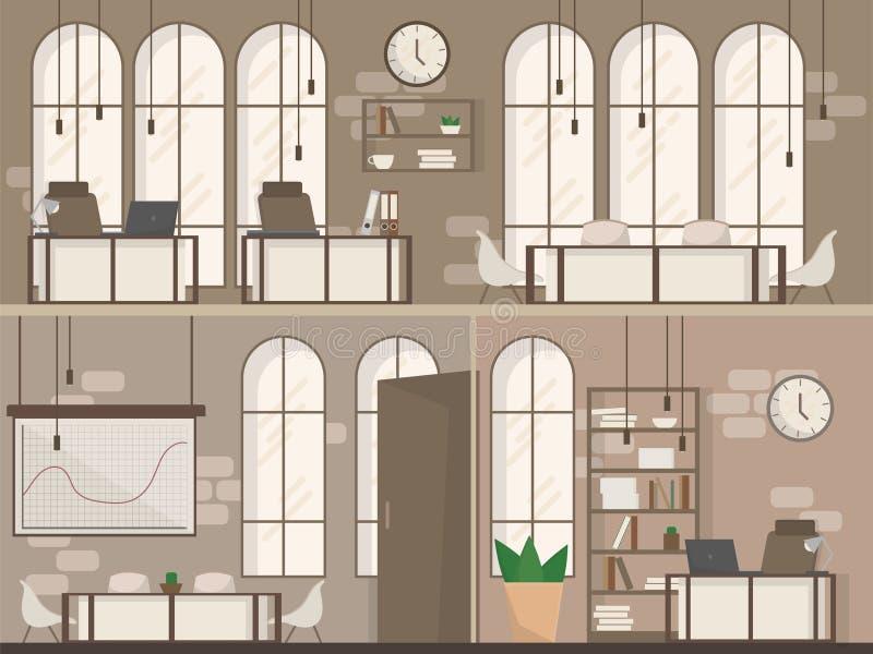 Illustrazione piana di vettore dello spazio ufficio dello spazio moderno interno vuoto del posto di lavoro royalty illustrazione gratis