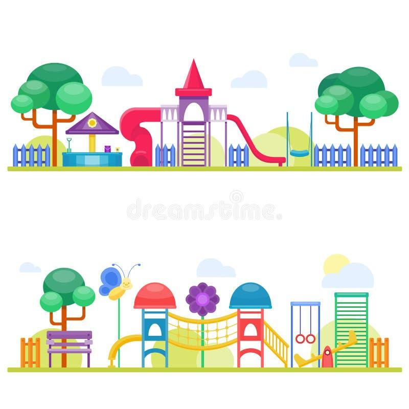 Illustrazione piana di vettore di attività del parco del gioco di infanzia di divertimento del campo da giuoco dei bambini illustrazione di stock