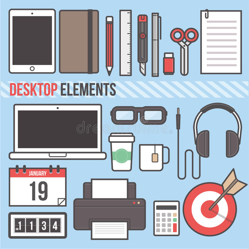 Illustrazione piana di vettore di progettazione del computer portatile della compressa dell'elemento da tavolino del computer illustrazione di stock