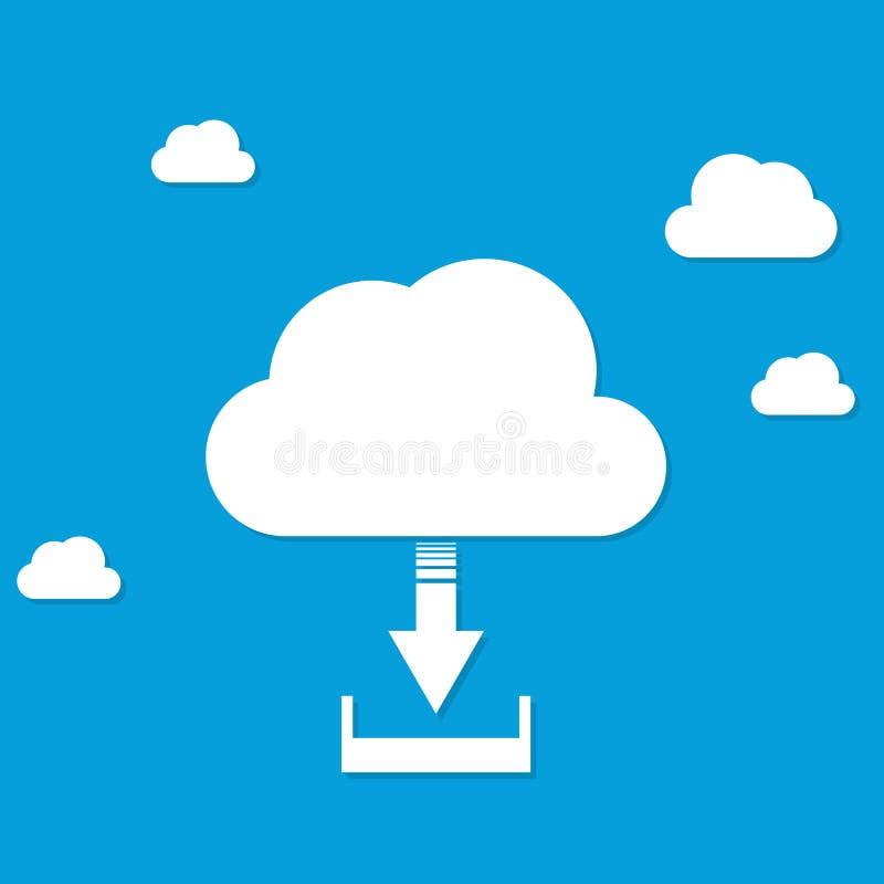Illustrazione piana di vettore di progettazione dell'icona di download della nuvola illustrazione vettoriale