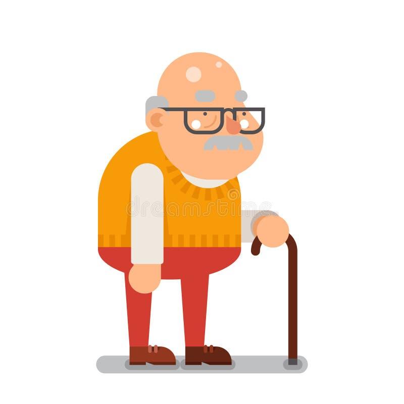 Illustrazione piana di vettore di progettazione dell'uomo anziano del fumetto di prima generazione del carattere illustrazione di stock