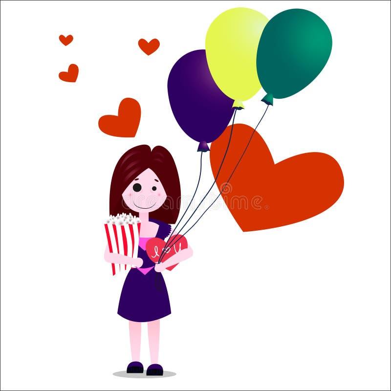 Illustrazione piana di vettore di progettazione della ragazza o della giovane donna felice in vestito viola royalty illustrazione gratis