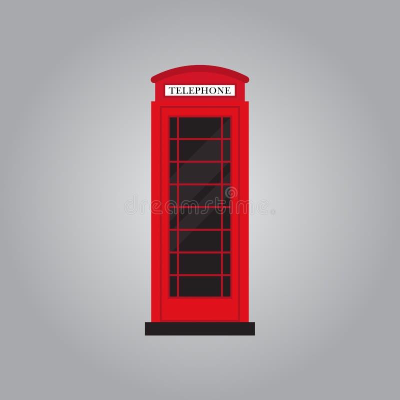 Illustrazione piana di vettore di progettazione della retro cabina telefonica rossa royalty illustrazione gratis