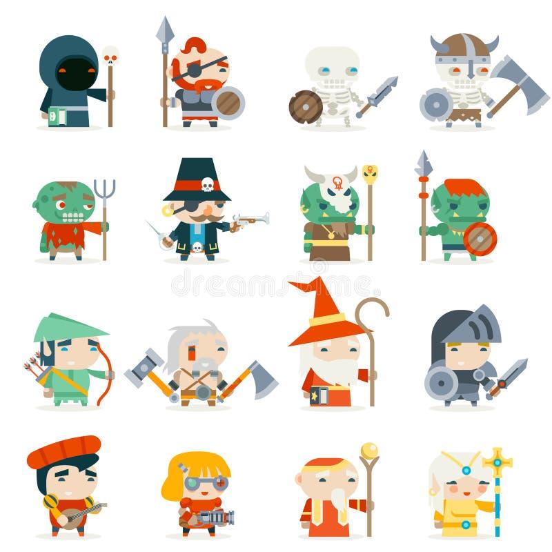 Illustrazione piana di vettore di progettazione messa icone di vettore del carattere dei servi dei furfanti di eroi del gioco di  illustrazione di stock
