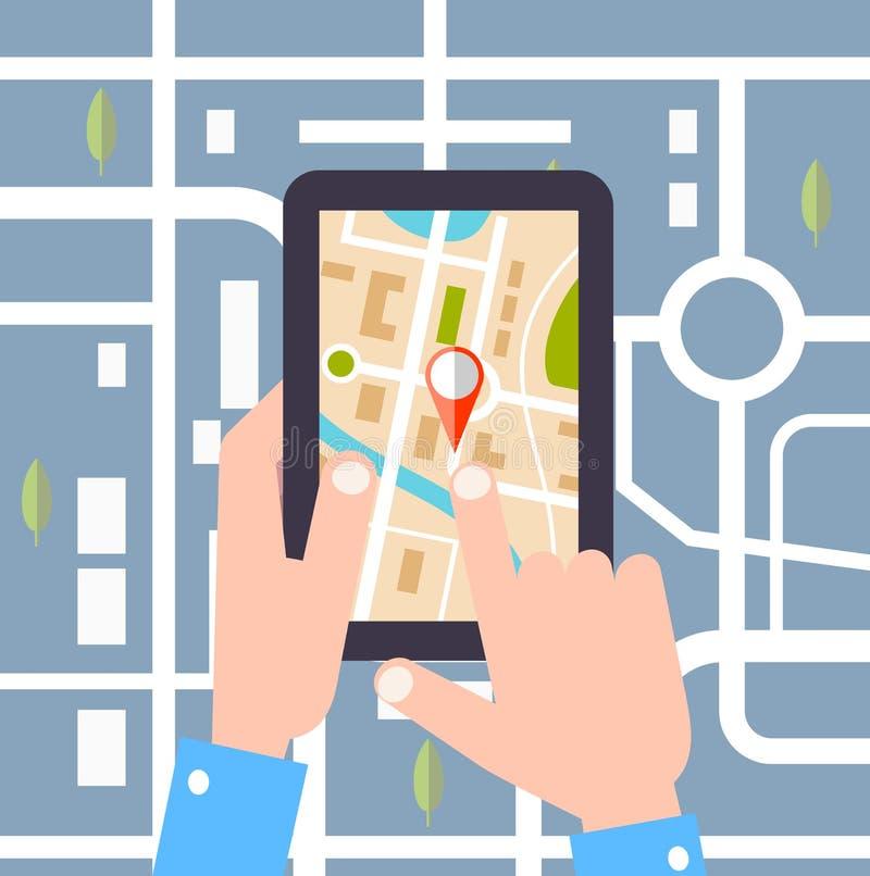 Illustrazione piana di vettore di progettazione Stenditura di un viaggio dell'itinerario, turismo di tecnologia di GPS illustrazione di stock