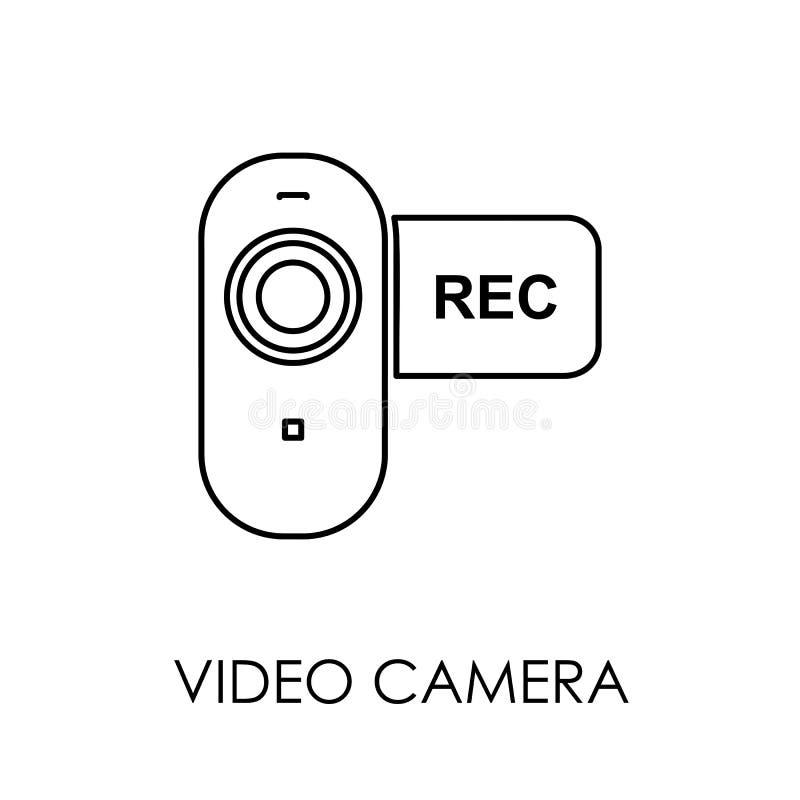 Illustrazione piana di vettore di stile di simbolo dell'icona della videocamera royalty illustrazione gratis