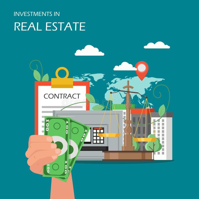 Illustrazione piana di vettore di investimenti in immobili illustrazione vettoriale