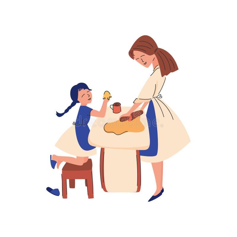 Illustrazione piana di vettore La mamma insegna al suo bambino royalty illustrazione gratis