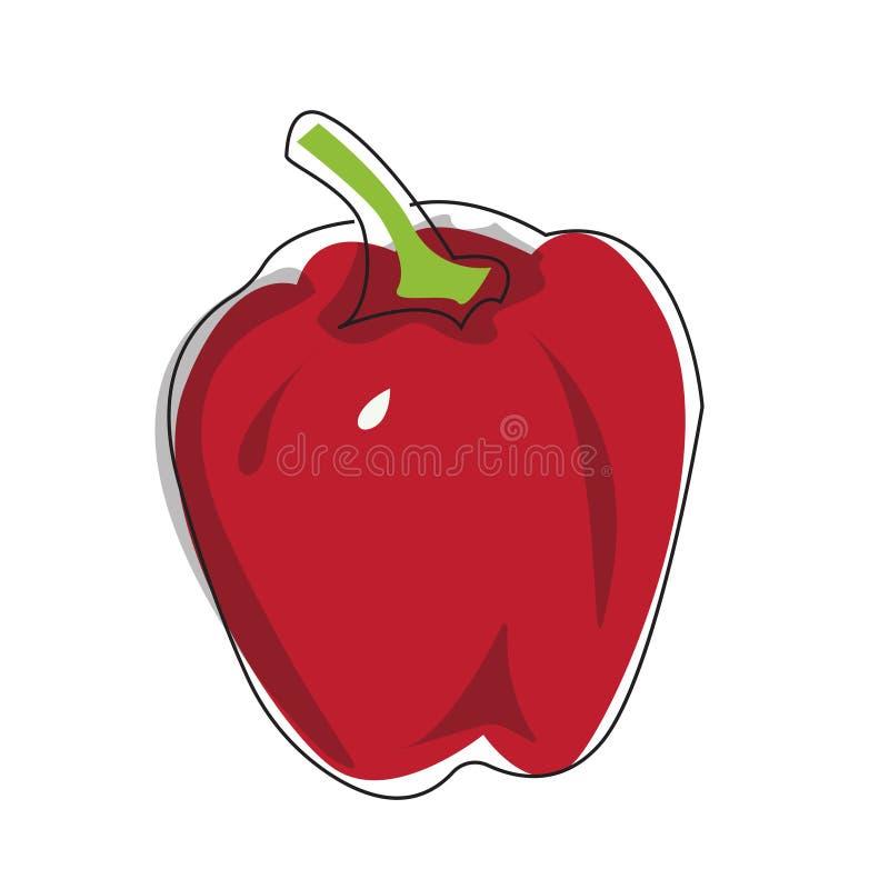 Illustrazione piana di vettore di peperone su un fondo bianco illustrazione di stock