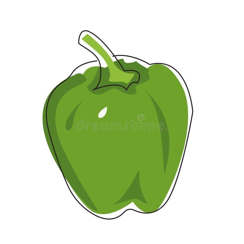 Illustrazione piana di vettore di peperone verde su un fondo bianco illustrazione di stock