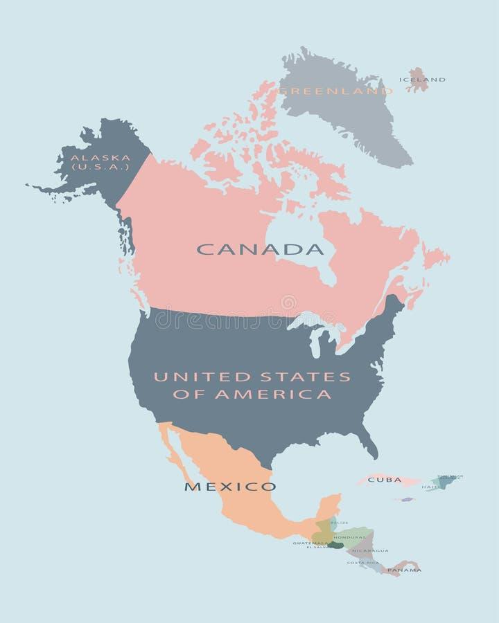 Illustrazione piana di vettore politico della mappa di Nord America illustrazione vettoriale